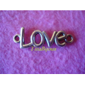 """N.1pzCIONDOLO CONNETTORE """"LOVE"""" per bracciali o collane IN ARGENTO TIBET. 3,6cm"""